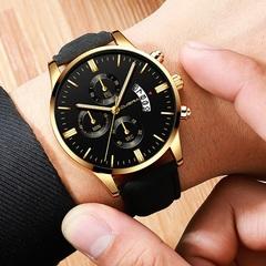 Men Watch leather straps Stainless Steel Good Quartz Luxury Business Man Wristwatch Valentines Gift Gold (Black Dial Black Strap)