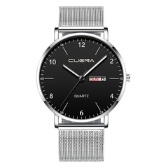 Men Watch Stainless Quartz WristWatch Waterproof Lady Lovers Women Male Date Classic Valentines Gift Silver (Black Dial)