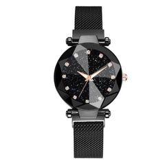 Women Luxury Watches Starry Sky Stainless Steel Watches Crystal Analog Quartz Dress Clock Black