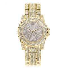 Women Fashion Wrist Watch Rhinestone Diamond Wristwatches Ladies Classic Luxury Quartz Watches Gold