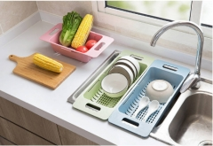Home sink retractable plastic leachate stand kitchen dishes shelf vegetable shelf creative receiver pale pink as shown in the figure