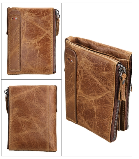 109a0890dfb5 Men's wallet leather short anti-RFID thief brush men's wallet double zipper  wallet curry as shown in the figure