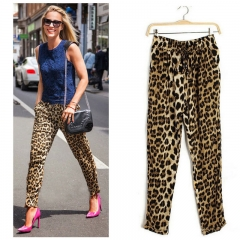 MadamLady  leopard print  elastic Harlan pants size  tightness  metal buckle strap  pants Picture color XL