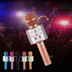 COAF Ws858 Wireless Bluetooth Microphone  Karaoke  Speaker Handheld  KTV Music  Microphone rose gold 3 W bluethoot