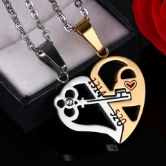 COAF Creative A Pair Of  lover Heart key Lock couple  necklace  Valentine's Day Token of love Gift golden 1