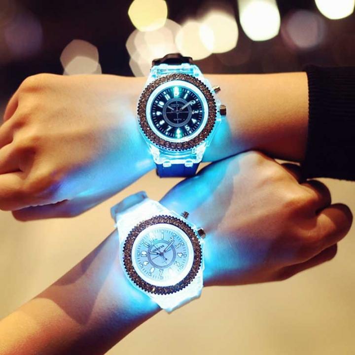 COAF Flash Luminous Couple Watch Women Watch Men Watch 7 Color Light Wrist Valentine black+white (2 Watches)
