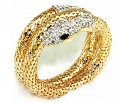FAFT  Personality Bracelet Set With Diamond Multi - Strand Snake Woman Retro Bracelet golden free size