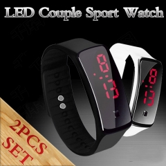 2Pcs/Set Casual LED Digital Display Bracelet Watch Fashion Silica Gel Sports Watch Couple Watch White and Black
