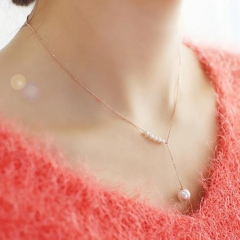 NJ Fashion Pearl Pendant Necklace Jewelry Temperament Simple Short Word Imitation Pearls Necklace gold one size