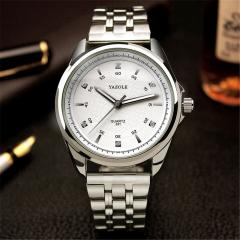 NJ Luxury Stainless Steel Analog Display Date Waterproof Men's Quartz Watch Business Watch Men Watch white