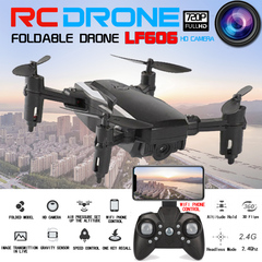 New LF606 Mini Drone With 2.0MP 720P Camera FPV Quadcopter Foldable RC Drones Children Kid RC Toys black No Camera & 1 Battery