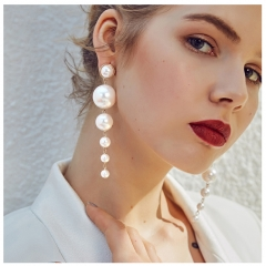 Personality Of Simple Size Artificial Pearl Long Earrings Female Joker Atmospheric Pendant Fashion as picture one size