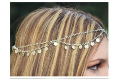 Super Shimmering Wavy Fringe Chain Headband Hair Accessories as picture one size