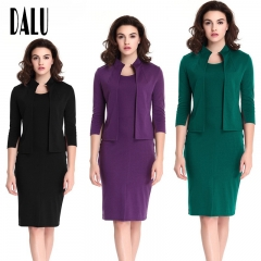 DALU Two Piece Summer Suit Patchwork Elegant Business Formal Office Pencil Work Dress Skirt Women black s