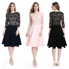 DALU Sexy Lace Long Sleeve Splicing Elegant Business Formal Office Pencil Dress Skirt Women black s