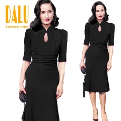 DALU Women Fashion Sex Slim Casual Elegant Gown Fit Long Checked Elegant Business Formal Dress 01 s