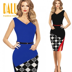 DALU Sexy Checked Long Sleeve Checked Elegant Business Formal Office Pencil Dress Skirt Women black s