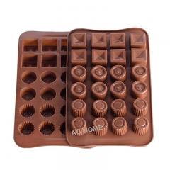 AG HOME  2PCS SET Mini Chocolate Molds Silicone Non-stick Mould Jello Candy Maker Cake Baking Trays as Picture 23.3*14*1.5 2PCS SET