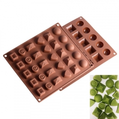 2PC Mini Chocolate Molds Silicone Mould with Six Shape Non-stick Jello Candy Maker Cake Baking Trays as picture 27.5*23*2CM