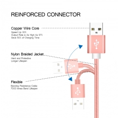 Item SJX001 Fast Charging USB Cables For Iphone Data Sync Charger Cable rose gold 1m