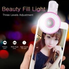 6in1 Mobile Phone Photo Led  Fill Light + Wide-angle Macro Fisheye Beauty Lens Selfie Artifact black 6in1 Fill-light + Lens none