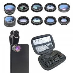 10in1 Clip Phone Lens Kit Wide Angle Macro Fisheye Lens for Iphone Android Mobile Smart Phones black 10in1 Lens Kit 10in1 none
