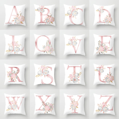 26 Letters Nordic Style Sofa Pillow Case for Car Office Home Sofa Cushion Pillow Cover Pillowcase A 44*44 cm