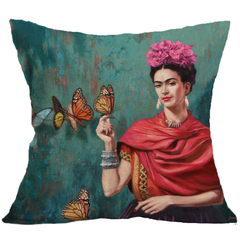 Mexican Painter Woman's Self-portrait Pillowcase Car Office Bedding Home Sofa Cushion Pillow Cover 6 44*44 cm