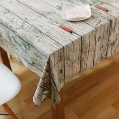 Fabric Linen Tablecloth Dining Table Cover Retro Wood Grain Creative Photography Background Props Wood Grain 140*140 cm