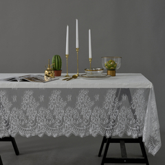 Black & White 2 Colors Lace Tablecloth American Country Style Candlelight Dinner Table Cover white 145*145 cm