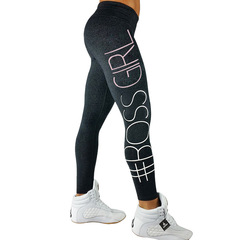 Women's Tight-fitting Gym Pants Fashion Sports Leggings Yoga Pants 4 Colors with Letters Printed Dark Gray M