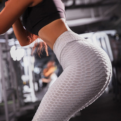 Breathable Hip Sweat-absorbent Sports Fitness Leggings Jacquard Tight Yoga Pants Hot in Europe US Gray s