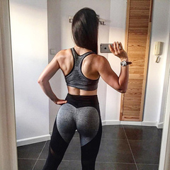 Mesh Stitching Contrast Color Yoga Leggings Breathable Slim Gym Pants Black xl