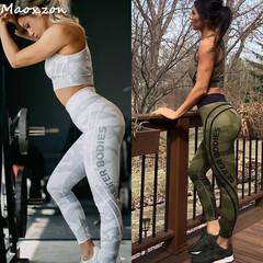 Women's Camouflage Slim Leggings Tights Sports Yoga Pants High Waist Gym Pants Green l