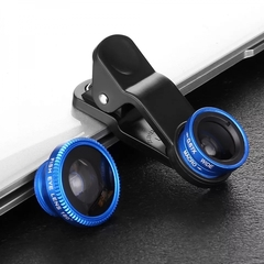 Universal Fish Eye 3in1 + Clip Fisheye Smartphone Camera Lens Wide Angle Macro Mobile Phone Lens Blue 3in1 Lens for all phones none