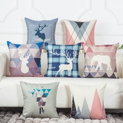 16 Colors Optional Pillow Cases Home Bedroom Sofa Cushion Cover Lucky Deer Decorative Pillowcase 1 45*45 cm