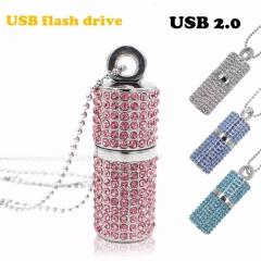 Usb Flash Drive 4G 8G 16G 32G Pen Drive U Disk drive Irish Diamond Crystal Memory Necklace Stick white usb 2.0 4gb flash drive