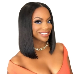 Short Lace Front Human Hair Wigs Brazilian Remy Hair Bob Wig with Pre Plucked Hairline Lace Wig Black one size