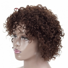 14Inch Short Human Hair Wigs Non-Remy Human Hair Curly Wigs 100% Human Hair Machine Made No Smell Brown 14 inch