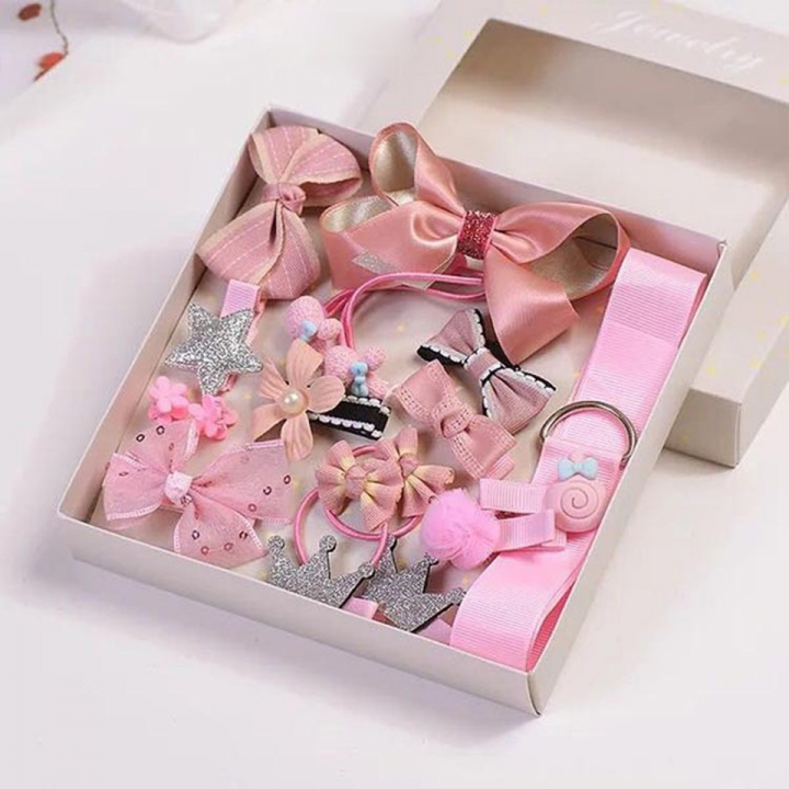 2018 New 18pcs Girl's Fashion Hair Accessories Sales Promotion Only 100 Opportunities Not To Miss pink onesize
