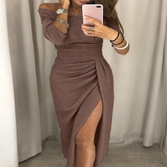 2018 New Fashion Strapless Women Off Shoulder High Slit Bodycon Dress Long Sleeve Dresses 10 Colors Brown xl