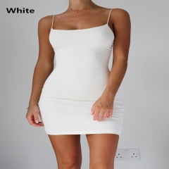 2018 New Fashion  Strap Sleeveless Solid Color  Bodycon Dress white s