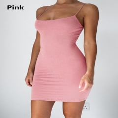 2018 New Fashion  Strap Sleeveless Solid Color  Bodycon Dress pink l