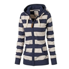 Women's Autumn  Fashion Sweater Hooded  Long Sleeve Striped Cardigan Zipper Loose Cotton Sweater black s