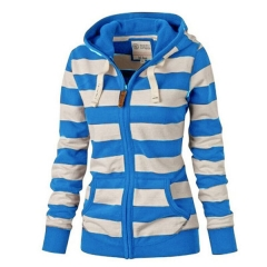 Women's Autumn  Fashion Sweater Hooded  Long Sleeve Striped Cardigan Zipper Loose Cotton Sweater sky blue s