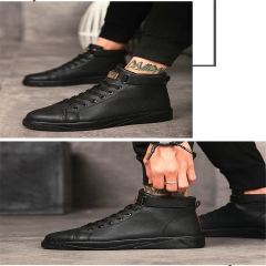 Men's Sneakers Fashionable Small White Shoes Spring New High-top Casual Shoes black 39
