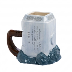Thor's hammer forming mug large-capacity animated cup ceramic cup silver white 20cm