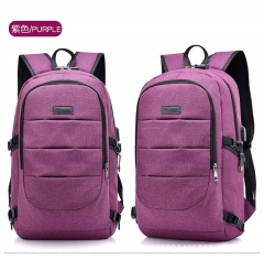 FH Brand 17-Inch Bag Business Laptop Backpack,Waterproof USB Charging Port(4 color) purple one size
