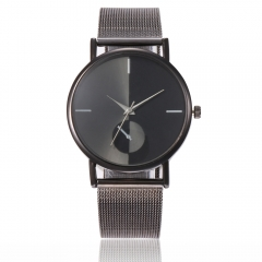 Creative alloy mesh belt men's and women's casual watches black