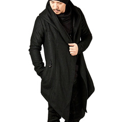Solid color men's hooded irregular hem jacket black s